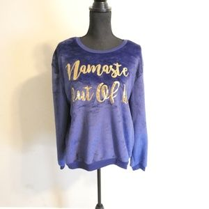 """Hybrid Apparel Women/'s Navy /""""Namaste Out Of It/"""" Embroidered Sweatshirt Sz L"""